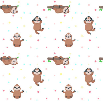 Vector seamless pattern with cute lazy sloths