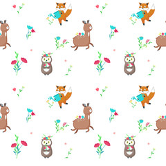 Vector seamless pattern with cute spring animals
