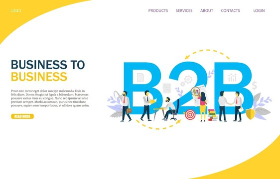 Business to business vector website landing page design template