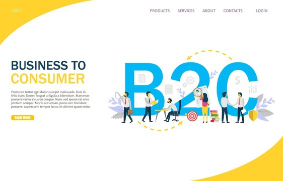 Business to consumer vector website landing page design template
