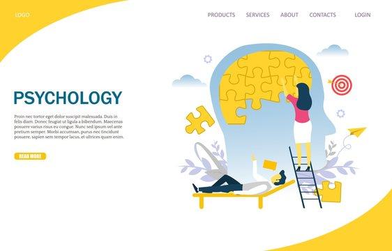 Psychology vector website landing page design template