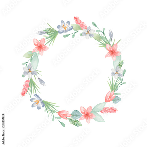 Watercolor Seamless Border Wreath With Flowers Leaves Template