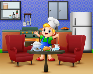 Cartoon cute little boy in apron and chef's hat near dining table