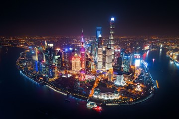 Photo Stands Shanghai Shanghai Pudong aerial night view