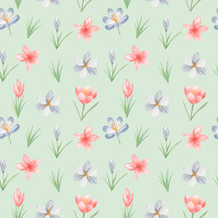 Watercolor seamless pattern with flowers, leaves. Texture for wallpaper, packaging, scrapbooking, textiles, fabrics, wedding design.