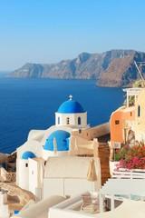 Fotobehang Cyprus Santorini skyline blue church