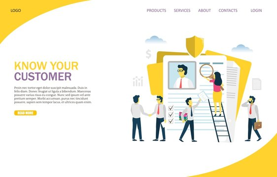 Know your customer vector website landing page design template