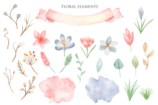 Watercolor set of delicate flowers, ribbons, watercolor stains. Illustration on white background for easter, wedding, spring design.