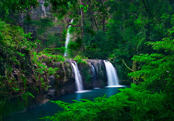 Beautiful scenery of cascade of tree waterfalls tumbling down the moss-covered cliffs by the mountainside with plants.Nandroya Falls Atherton Tablelands. Far North Queensland. Australia.-Image.
