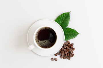 Coffee cup with beans and leaf on white bright background. 3d rendering