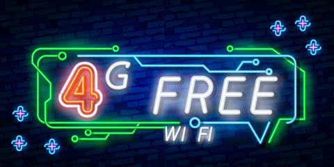 Neon 4G new wireless internet wifi connection neon sign vector. 4G Design template neon sign, light banner, neon signboard, nightly bright advertising, light inscription. Vector illustration