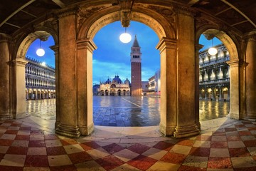 Wall Mural - Piazza San Marco hallway night view