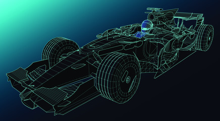 Acrylic Prints F1 professional racing car with driver