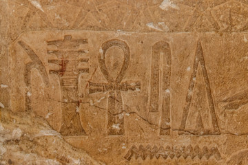 Ancient egyptian hieroglyphs carved on the stone wall