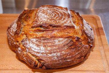 home made sourdough loaf of bread