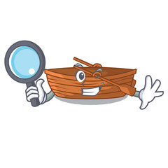 Detective wooden boats isolated with the cartoons