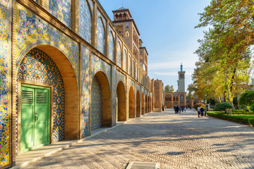 Amazing view of courtyard and garden at the Golestan Palace