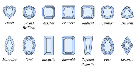 Fourteen popular diamond cut shapes with titles