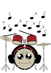 Lustiges Schlagzeug im Kawaii Stil mit Kopfhörern. Vektor Datei EPS 10.
