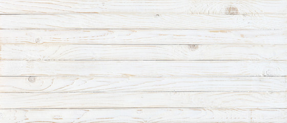 Poster Bois white wood texture background, top view wooden plank panel