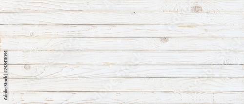 Wall mural white wood texture background, top view wooden plank panel