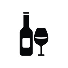 Black solid icon for beverage wine