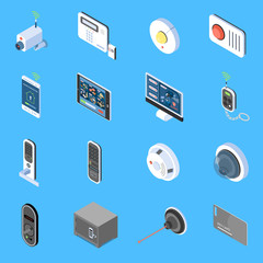 Obraz Home Security Isometric Icons  - fototapety do salonu
