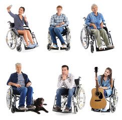 Different people in wheelchair on white background