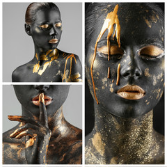Collage of photos with beautiful woman painted with black and golden colors