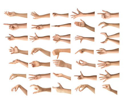 Gesturing female hands on white background