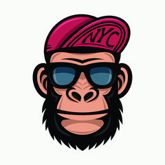 Cool monkey in sunglasses and baseball caps. Fashionable gorilla head