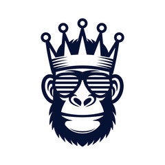 Cool monkey in sunglasses and crown. King gorilla logo