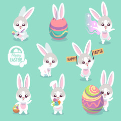 Easter bunny characters. Cute rabbit with easter egg cartoon bunnies vector set