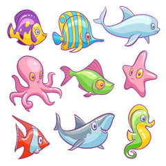Underwater animals. Cute sea tropical fishes funny ocean underwater animal kids vector isolated set