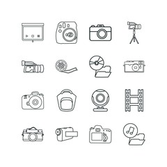 camera icon set. webcam icon camera and music files icon vector icons.