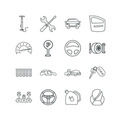 car icon set. steering wheel icon car and tire inflation tire repair vector icons.