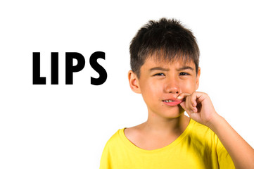 English language learning card with portrait of 8 years old child with fingers on his lips isolated on white background as part of school cards set of body and face parts