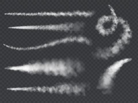 Plane smoke trail. Jet trails white airplane smoke takeoff cloud vapour sky contrail rocket condensation trailing set