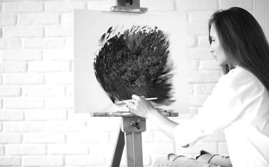 Beautiful artist at work