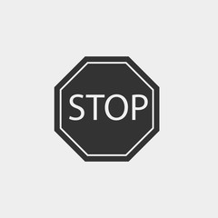 Stop road sign vector icon