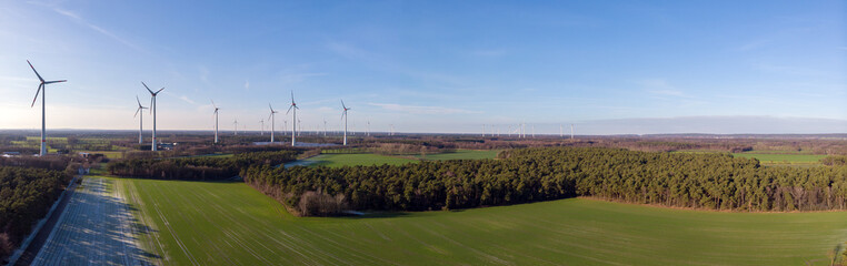 Wind and Solar farm panorama, Saerbeck Germany