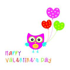 cute owl happy valentine greeting card vector