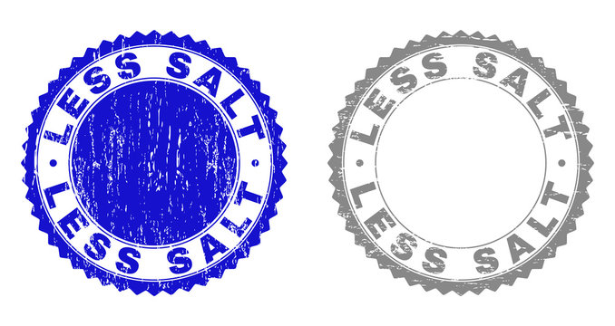 Grunge LESS SALT stamp seals isolated on a white background. Rosette seals with distress texture in blue and grey colors. Vector rubber stamp imprint of LESS SALT title inside round rosette.