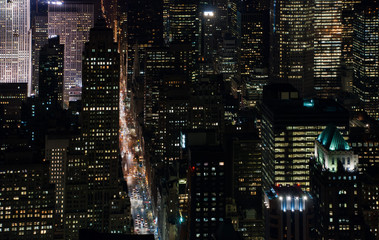 Amazing NYC night aerial view. Manhattan district. USA