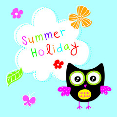 cute owl summer holiday greeting card