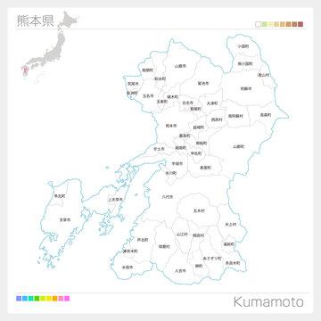 熊本県の地図(市町村・区分け)