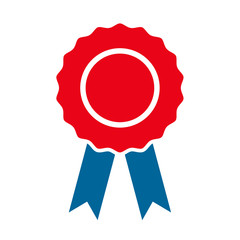 Certification seal award icon, symbol. Ribbon stamp symbol vector isolated