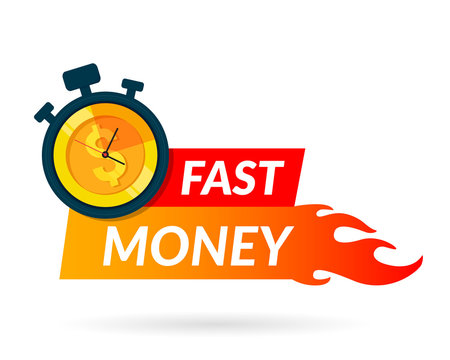 Fast money icon for apps and website. Quick and easy loan. Business and finance concept. Vector illustration. Flat design. EPS 10.