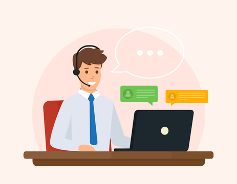 Online support, operator of call center answers questions a client. Online customer service concept. Vector illustration design.