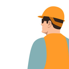 Worker in a protective helmet , vector illustration, flat style, profile
